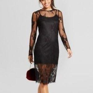 Xhilaration black lace mesh midi bodycon dress